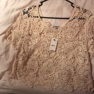 Express lace crop top cream colored festival